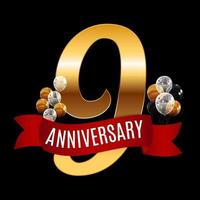 Golden 9 Years Anniversary Template with Red Ribbon Vector Illustration