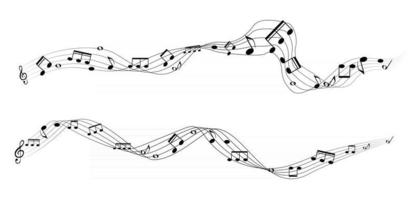 Set of musical notes on five line clock notation without a feature Treble clef vector