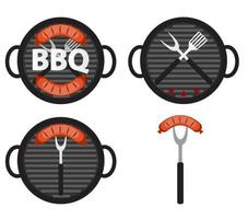 BBQ Icon Set with Grill Tools and Sausage vector