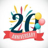 Anniversary 20 Years Template with Ribbon Vector Illustration