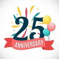 Plantilla de aniversario de 25 años con ilustración de vector de cinta