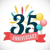 Anniversary 35 Years Template with Ribbon Vector Illustration
