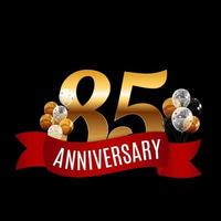 Golden 85 Years Anniversary Template with Red Ribbon Vector Illustration