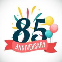 Anniversary 85 Years Template with Ribbon Vector Illustration