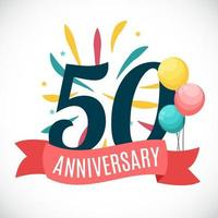 Anniversary 50 Years Template with Ribbon Vector Illustration