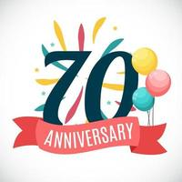Anniversary 70 Years Template with Ribbon Vector Illustration