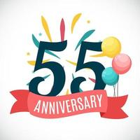 Anniversary 55 Years Template with Ribbon Vector Illustration
