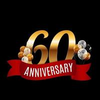 Golden 60 Years Anniversary Template with Red Ribbon Vector Illustration