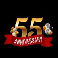 Golden 55 Years Anniversary Template with Red Ribbon Vector Illustration