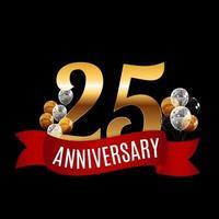 Plantilla de aniversario de 25 años de oro con ilustración de vector de cinta roja