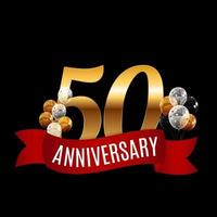 Golden 50 Years Anniversary Template with Red Ribbon Vector Illustration