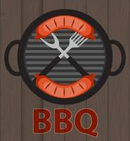 BBQ Icon with Grill Tools and Sausage on Wooden Background vector