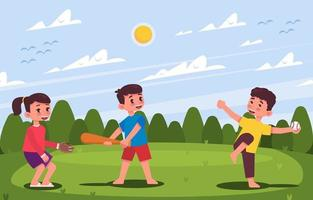Kids Playing Soft Ball Together vector