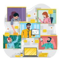 Virtual Conference Meeting with Group of Creative People vector