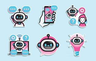 Collection of Chatbot Stickers vector