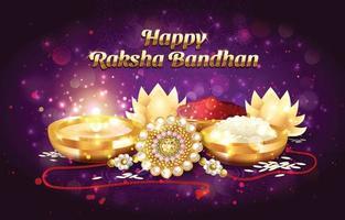 Happy Raksha Bandhan with Golden Rakhi Concept vector