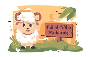 Eid Adha With Smiling Sheep vector