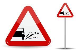Sign Warning Emission of gravel stones. vector