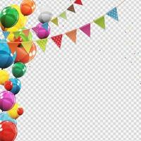 Group of Colour Glossy Helium Balloons Isolated. Set of  Balloons and Flags for Birthday Anniversary Celebration Party Decorations vector