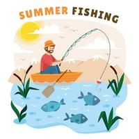 Man Fishing on The Boat vector