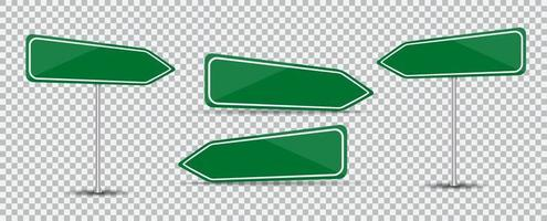 Road Sign Isolated. Blank green arrow traffic vector