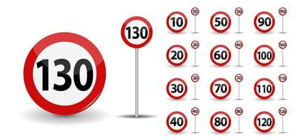 Round Red Road, Sign Speed limit 10 to 130 kilometers per hour vector