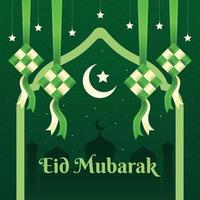 Happy Eid Mubarak Ketupat Background vector