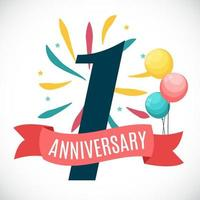 Anniversary 1 Year Template with Ribbon Vector Illustration