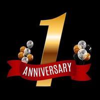 Plantilla de aniversario de 1 año dorado con ilustración de vector de cinta roja