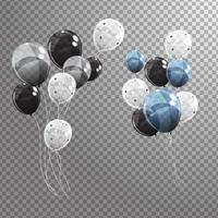 Group of Colour Glossy Helium Balloons Isolated. Set of Silver, Black, Blue and White Balloons for Birthday Anniversary Celebration, Party Decorations vector