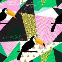 Trópico tucán pájaro y hoja de palma diseño de fondo de patrón sin fisuras vector