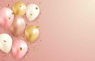 Happy Birthday congratulations banner design with Confetti and balloons for Party Holiday Background vector