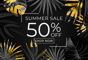 Summer sale poster Natural Background with Tropical Palm and Monstera Leaves vector