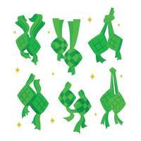 Set of Ketupat Icon Design vector
