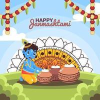 Happy Janmashtami Day vector