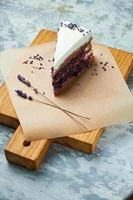 Lavender cake decorated with a sprig of lavender photo
