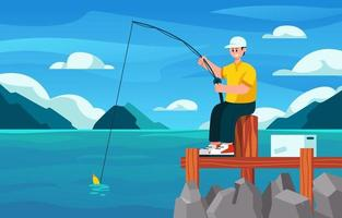Fishing on Summer Day vector