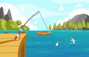 Fishing in Beach with Beautiful View vector