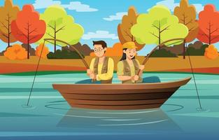 Couple Fishing Together in a Lake vector