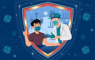 hombre sano feliz recibe la vacuna covid por un médico vector