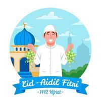 Man Carrying Ketupat in Eid Aidil Fitri vector