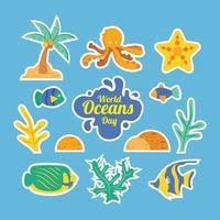 World Oceans Day Sticker Set Template vector