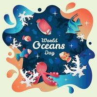 World Oceans Day with Animal Template vector
