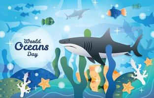 World Oceans Day with Shark Background Template vector