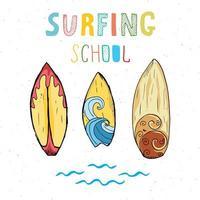 Surf boards hand drawn sketch tshirt print design surfing school typography Summer vintage retro badge template vector illustration