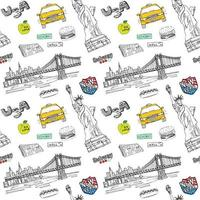 New York city seamless pattern with Hand drawn sketch taxi hotdog burger statue of liberty newspaper Manhattan bridge Drawing doodle vector illustration isolated on white