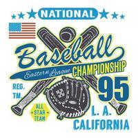 béisbol deporte tipografía liga oriental los angeles boceto de bate de béisbol cruzado y guante diseño de impresión de camiseta gráficos vector ilustración cartel insignia aplique etiqueta