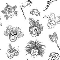 Venice Italy carnival masks seamless pattern Hand drawn sketch Italian Venetian festival Doodle Drawing background vector