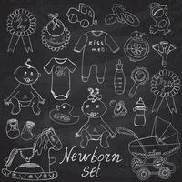 Baby icons toys clothes and cradle hand drawn sketch vector illustration on chalkboard