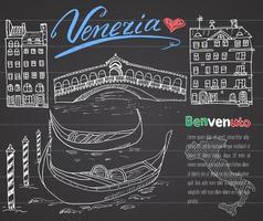 Venice Italy sketch elements Hand drawn set with flag map gondolas houses market bridge Lettering Venice welcome in Italian Drawing doodle collection and sample text on chalkboard vector